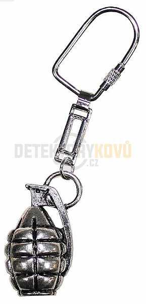 Přívěšek na klíče - granát stříbrný - Detektory kovů