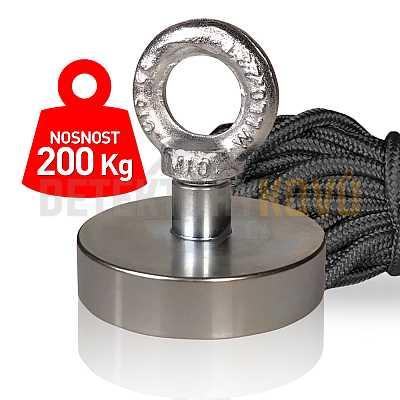 Supermagnet 200 kg - set s lanem - Detektory kovů