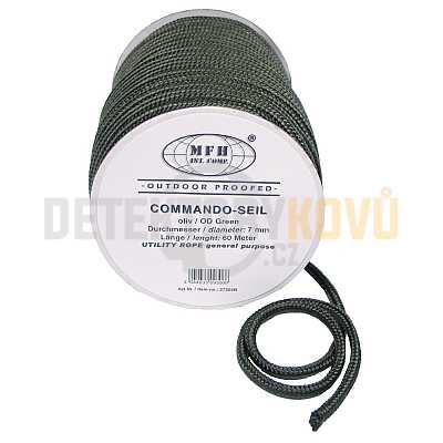 Lano 7 mm, 60 m, olivové - Detektory kovů