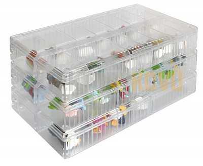Sběratelský prezentační stohovatelný box s nastavitelnými přihrádkami Lindner - Detektory kovů