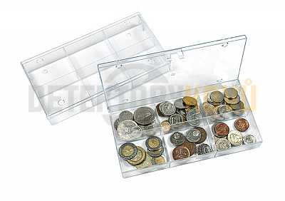Sběratelský box - průhledný se 6 přihrádkami - Detektory kovů