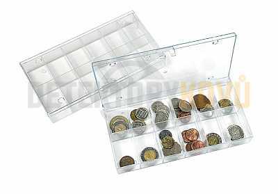 Sběratelský box - průhledný se 12 přihrádkami - Detektory kovů
