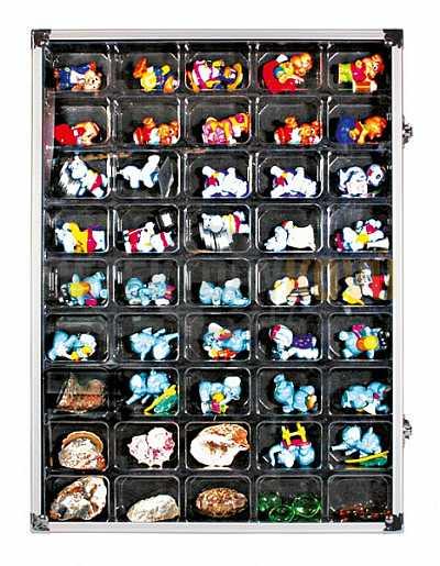 Sběratelská ALU vitrína s 45 přihrádkami - Detektory kovů