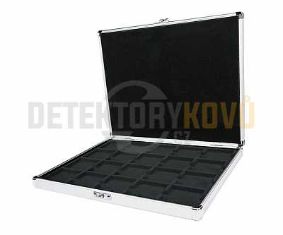 Luxusní hliníkový kufr na 20 mincí do 50 mm - Detektory kovů