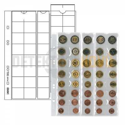 Listy na mince, černá, pro 5 sad Euro mincí, pro alba PUBLICA - Detektory kovů