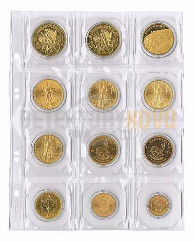 Listy na mince s černými proklady, do Ø 50 mm pro alba PUBLICA - Detektory kovů