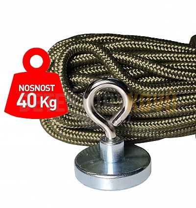 Supermagnet 40 kg - set s lanem - Detektory kovů